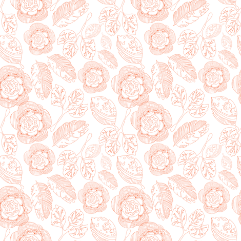 outline flowers fabric by lisenok on Spoonflower - custom fabric