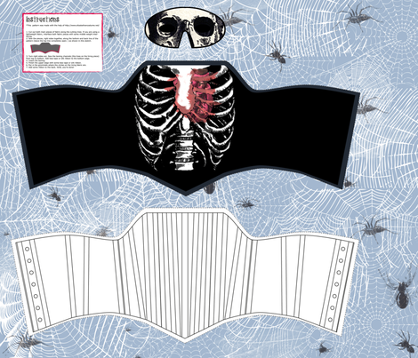 bleeding heart ribcage corset fabric by p_kok on Spoonflower - custom fabric