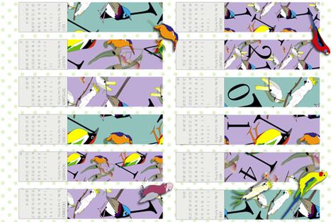 2014 Bird Type Calendar fabric by fiona_sinclair_design on Spoonflower - custom fabric