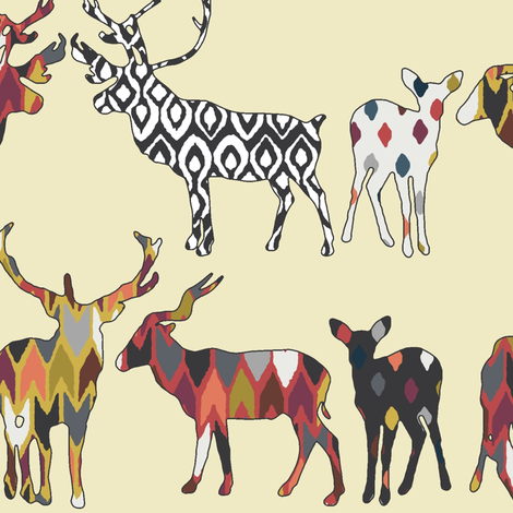 cream spice deer larger fabric by scrummy on Spoonflower - custom fabric