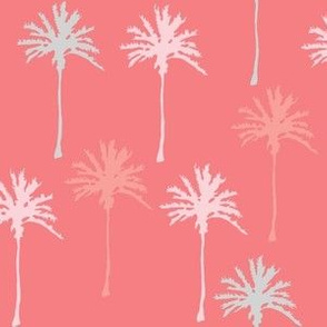 Palm Trees on Pinky Peach in Pastel Colors