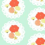 Minty floral doily