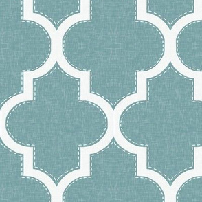 Stitched Quatrefoil in Turquoise Linen
