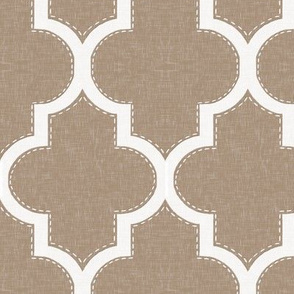 Stitched Quatrefoil in Linen
