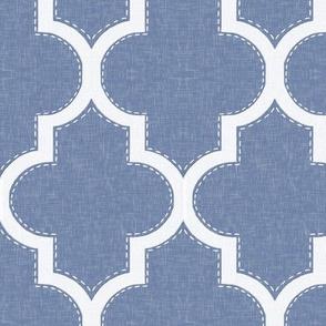 Stitched Quatrefoil in Blue Linen