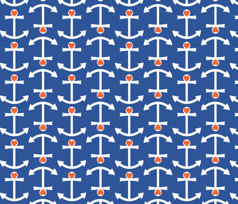 Anchor Love Large - Orange fabric by srbracelin on Spoonflower - custom fabric