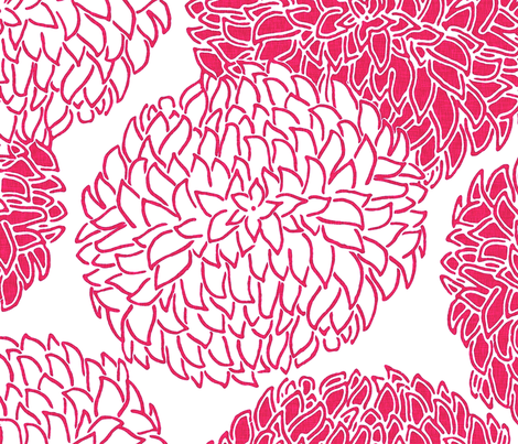 Modern Posy in Red fabric by sparrowsong on Spoonflower - custom fabric