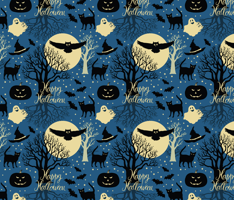 Happy Halloween fabric by nenilkime on Spoonflower - custom fabric