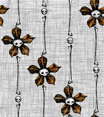 Skull Flower Stripes 2 - orange