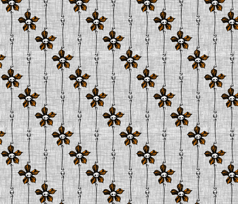 Skull Flower Stripes 2 - orange fabric by thecalvarium on Spoonflower - custom fabric