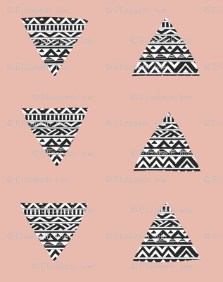 hand drawn triangles in velvet pink // tribal // medium scale
