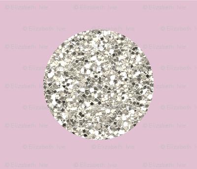silver glitter dots on peony