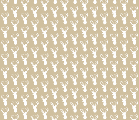 taupe deer head fabric by ivieclothco on Spoonflower - custom fabric