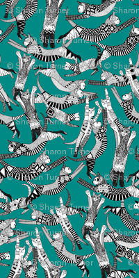 cat party teal blue