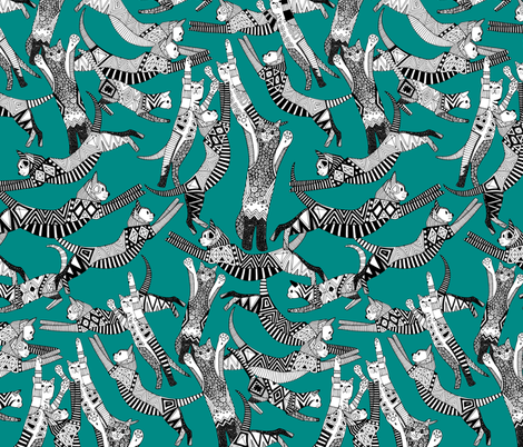 cat party teal blue fabric by scrummy on Spoonflower - custom fabric