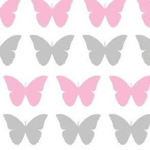 baby pink and gray butterflies -ed