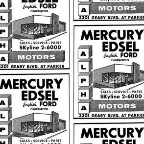 1958 1959 Edsel San Francisco car dealership ad
