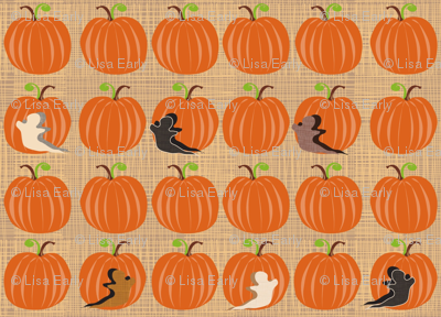 Pumpkin Patch with textured Ghosts