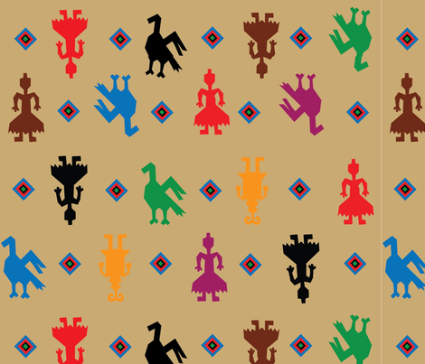 Indian Figures Tan fabric by almost_vintage on Spoonflower - custom fabric