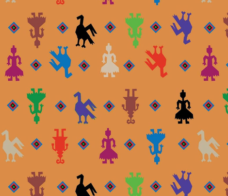 Indian Figures Orange fabric by almost_vintage on Spoonflower - custom fabric