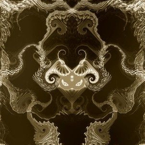 Angel Wings Demon Face Damask - Beige on Black