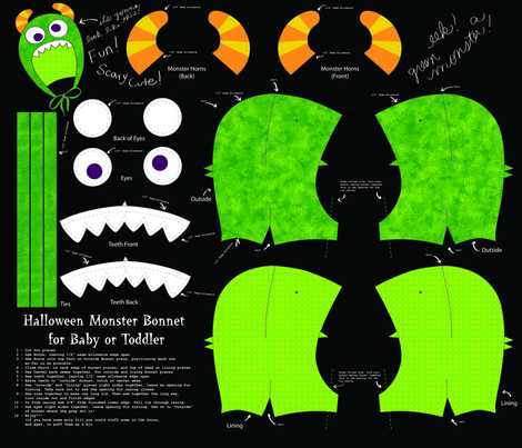 Halloween Monster Bonnet fabric by hollyko on Spoonflower - custom fabric