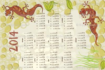 2014 gecko calendar teatowel