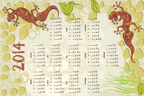 2014 gecko calendar teatowel fabric by bippidiiboppidii on Spoonflower - custom fabric