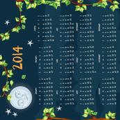 2014 owl calendar teatowel