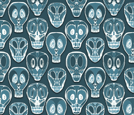Wall of Skulls fabric by elramsay on Spoonflower - custom fabric