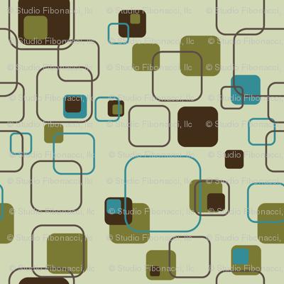 Mid-Century Modern - Retro Squares (Teal)