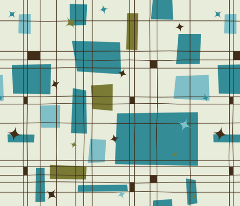 Mid-Century Modern - Grid & Stars (Teal) fabric by studiofibonacci on Spoonflower - custom fabric