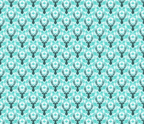 deer-damask-ice-tile fabric by maydesigns on Spoonflower - custom fabric