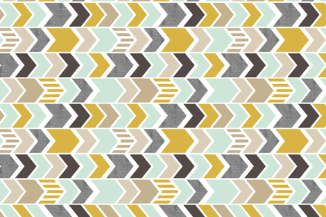 Mint Gold Chevron 90 deg fabric by mrshervi on Spoonflower - custom fabric
