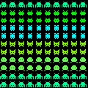 Invaders from SPACE! (blues and greens)