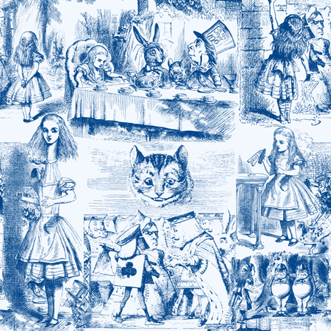 Curiouser and curiouser!  An Alice Toile ~ Blue ~ Small fabric by peacoquettedesigns on Spoonflower - custom fabric