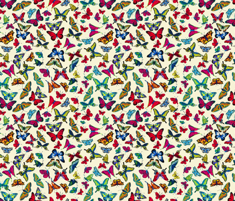 BUTTERFLIES-beige fabric by i-jessicajordan on Spoonflower - custom fabric