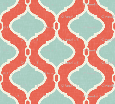 Alessandra Trellis in Bright Coral and Turquoise