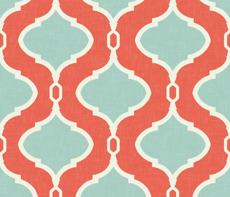 Alessandra Trellis in Bright Coral and Turquoise fabric by willowlanetextiles on Spoonflower - custom fabric