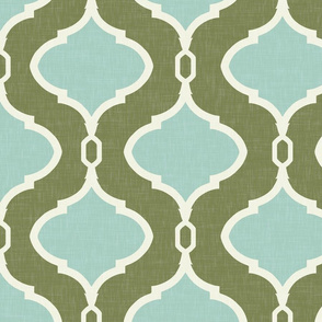 Alessandra Trellis in Deep Green-Gray and Aqua