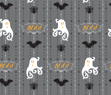 "Ghosts Say ""Boo"" fabric by pollyannahandmade on Spoonflower - custom fabric"