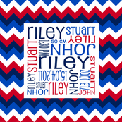 Personalised Birth Cushion Panel - Red Blue Navy Chevron