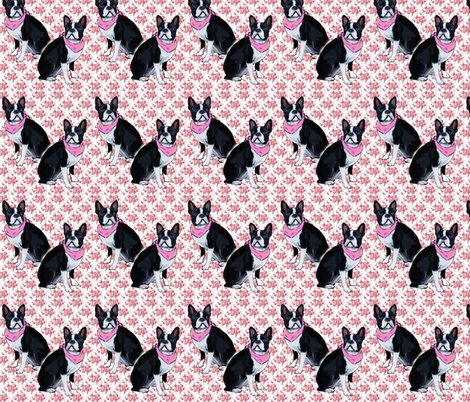 Boston Terrier Pink fabric by dogdaze_ on Spoonflower - custom fabric
