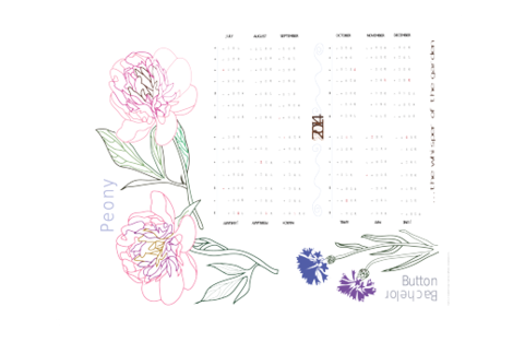 2014_peony_calendar fabric by waterrose on Spoonflower - custom fabric