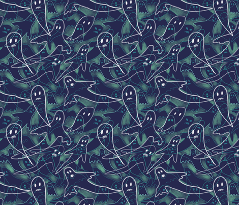 Ghosts fabric by vinpauld on Spoonflower - custom fabric