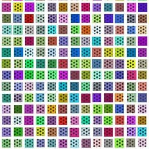 White Grid over Random Colors + Black Ben Day Dots
