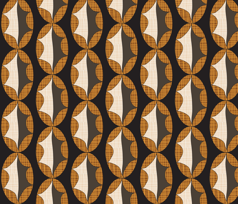 Cross Hatch Leaf on Black fabric by vanillabeandesigns on Spoonflower - custom fabric