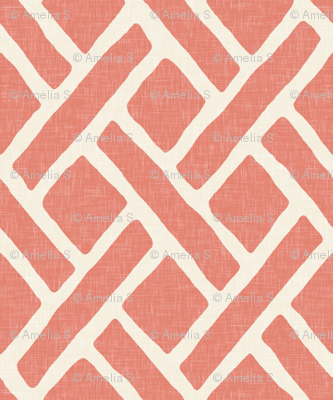 Savannah Trellis in Medium Coral Linen