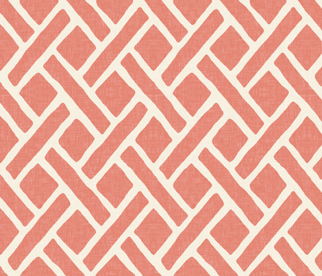 Savannah Trellis in Medium Coral Linen fabric by sparrowsong on Spoonflower - custom fabric