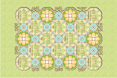 Annivesary Calendar 1941 - 2014 Green fabric by inscribed_here on Spoonflower - custom fabric